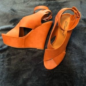 Cognac Faux Leather Wedges